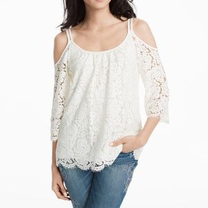 WHBM White Lace Cold Shoulder Top